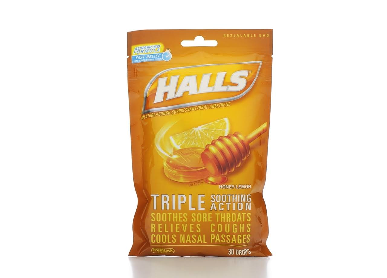 Halls Menthol Drops - 30 Drops, Honey Lemon