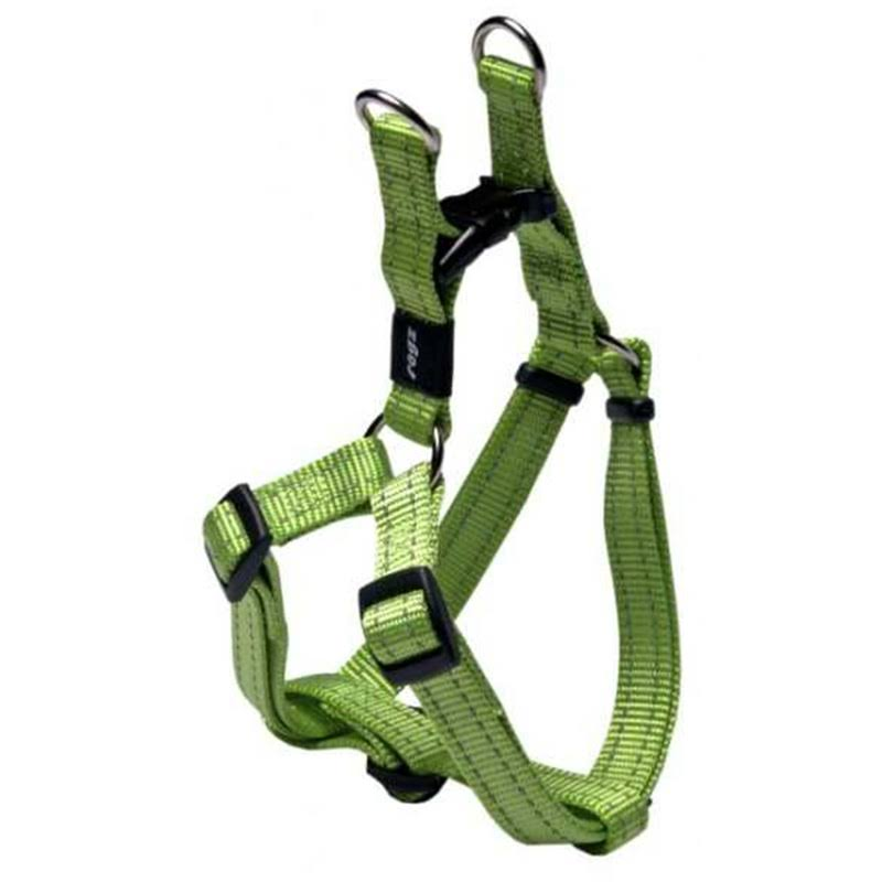 Rogz Snake Reflective Nylon Step in Dog Harness - Lime Green, Medium