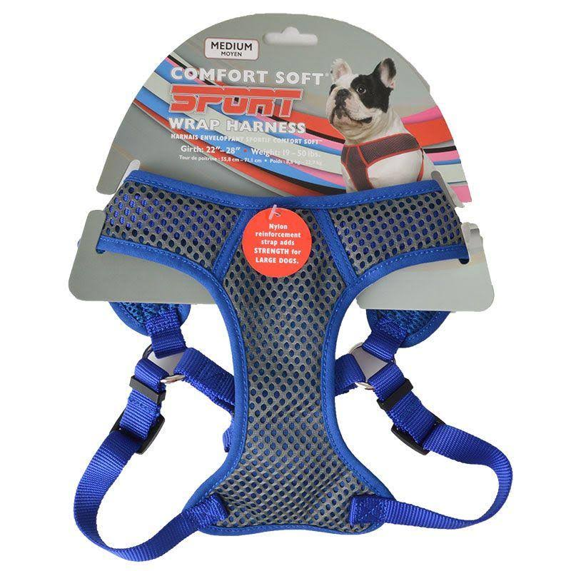 "Coastal Pet Products Comfort Soft Sport Wrap Gybmed Nylon Adjustable Dog Harness - Medium, 3/4"" x 22-28"", Grey with Blue"