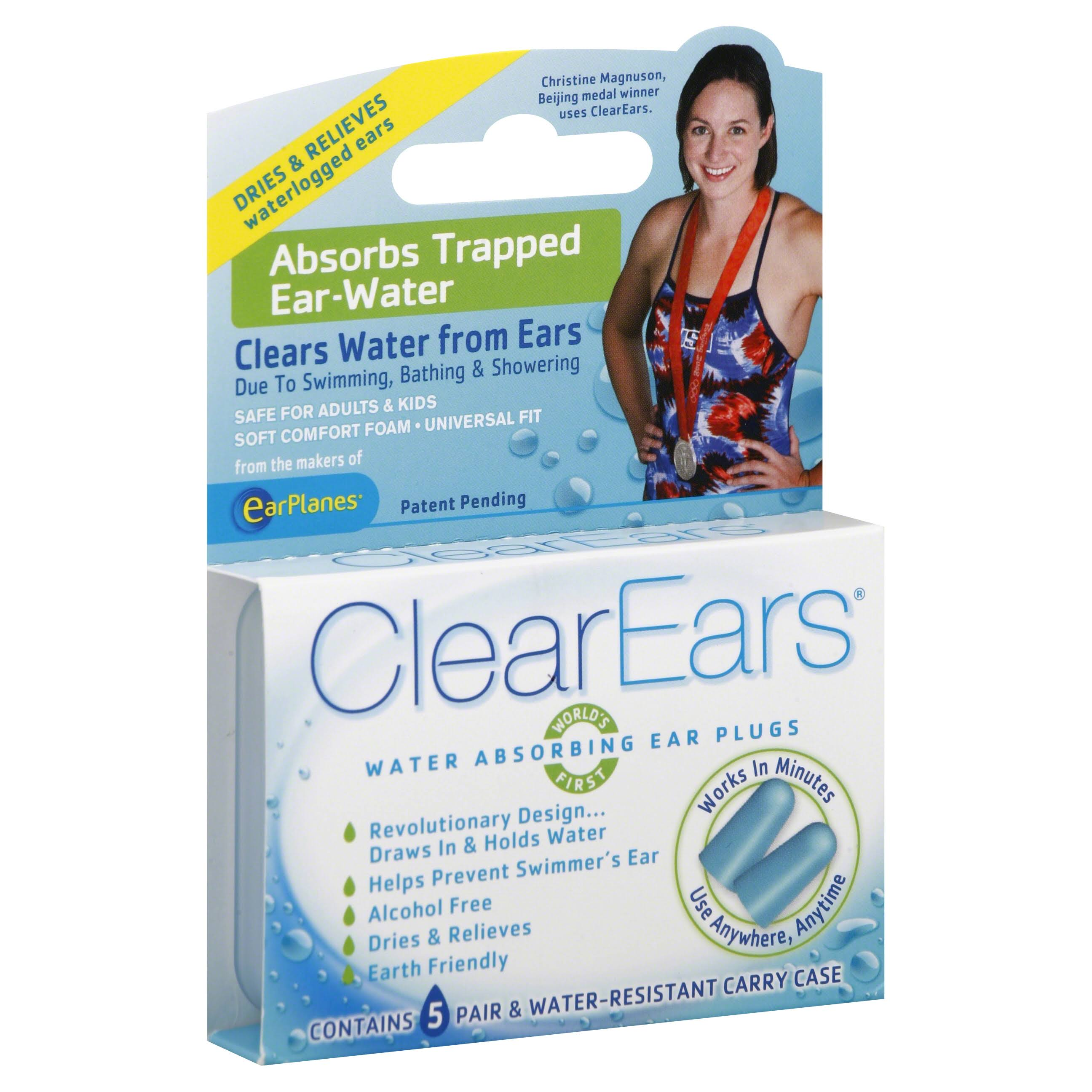 ClearEars Water Absorbing Ear Plugs - 5pk