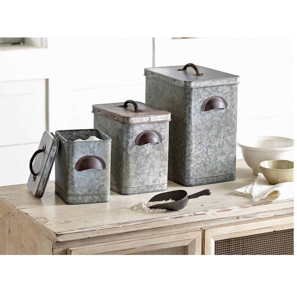 Mud Pie 4935002 Galvanized Tin Farmhouse Canister Set - Silver