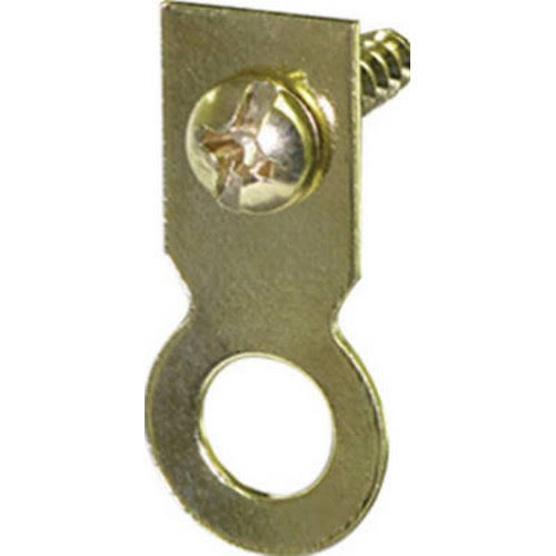 The Hillman Group 122227 Flat Brass Plated Ring Hanger - with Screw, Large