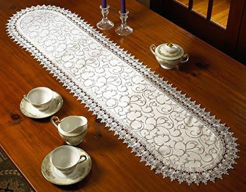 Violet Linen Flower Bow Embroidered Lace Vintage Design Table Runner, White 14x54