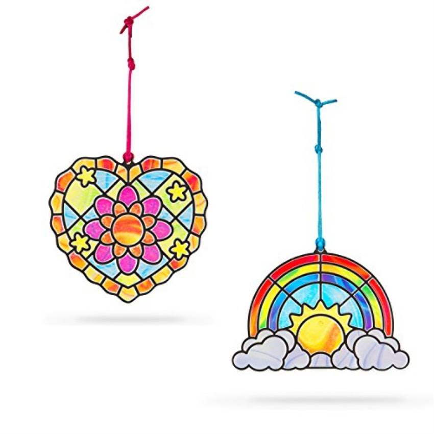 Melissa & Doug Stained Glass Made Easy Rainbow & Hearts Ornaments Toy