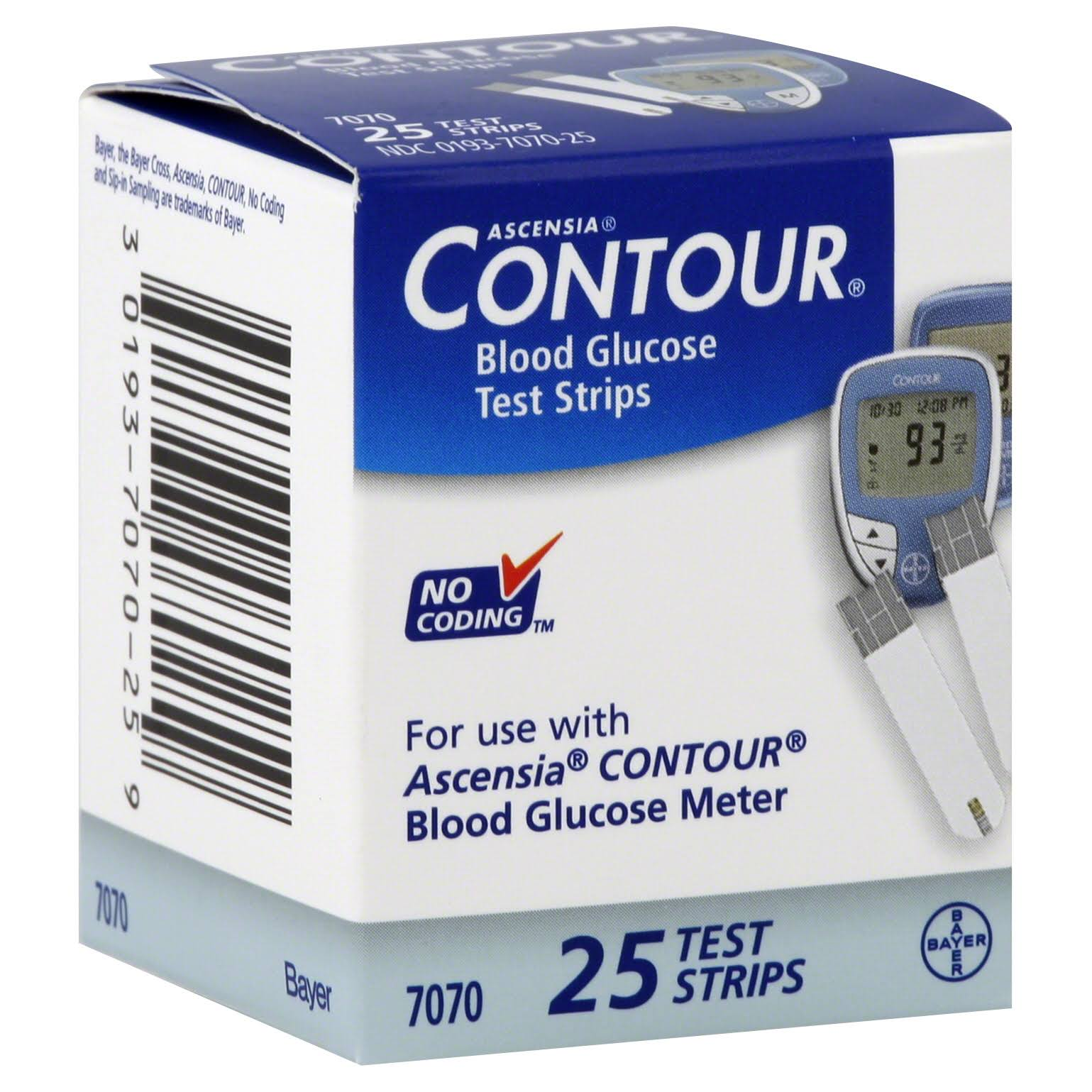 Bayer Contour Blood Glucose Test Strips - 25ct