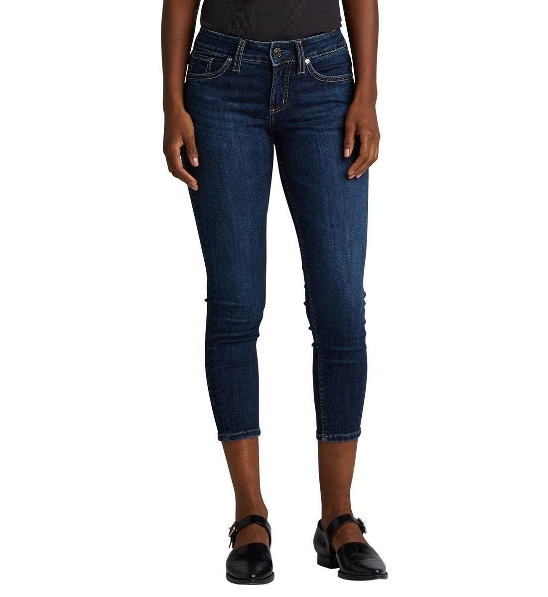 Silver Jeans Co. Women's Suki Mid Rise Skinny Crop Jeans - Indigo - 33