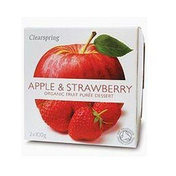 Clearspring Organic Fruit Purée - Apple and Strawberry, 2 x 100g