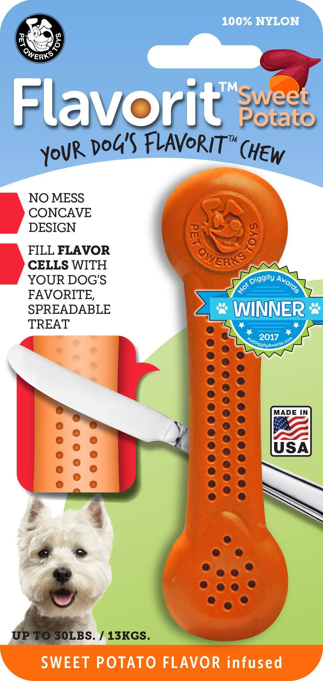 Pet Qwerks Sweet Potato Nylon Flavorit Bone- Medium, Orange