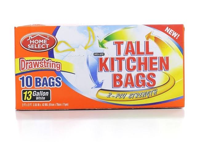 Home Select Tall Drawstring Kitchen Bags - 13gal, 10ct