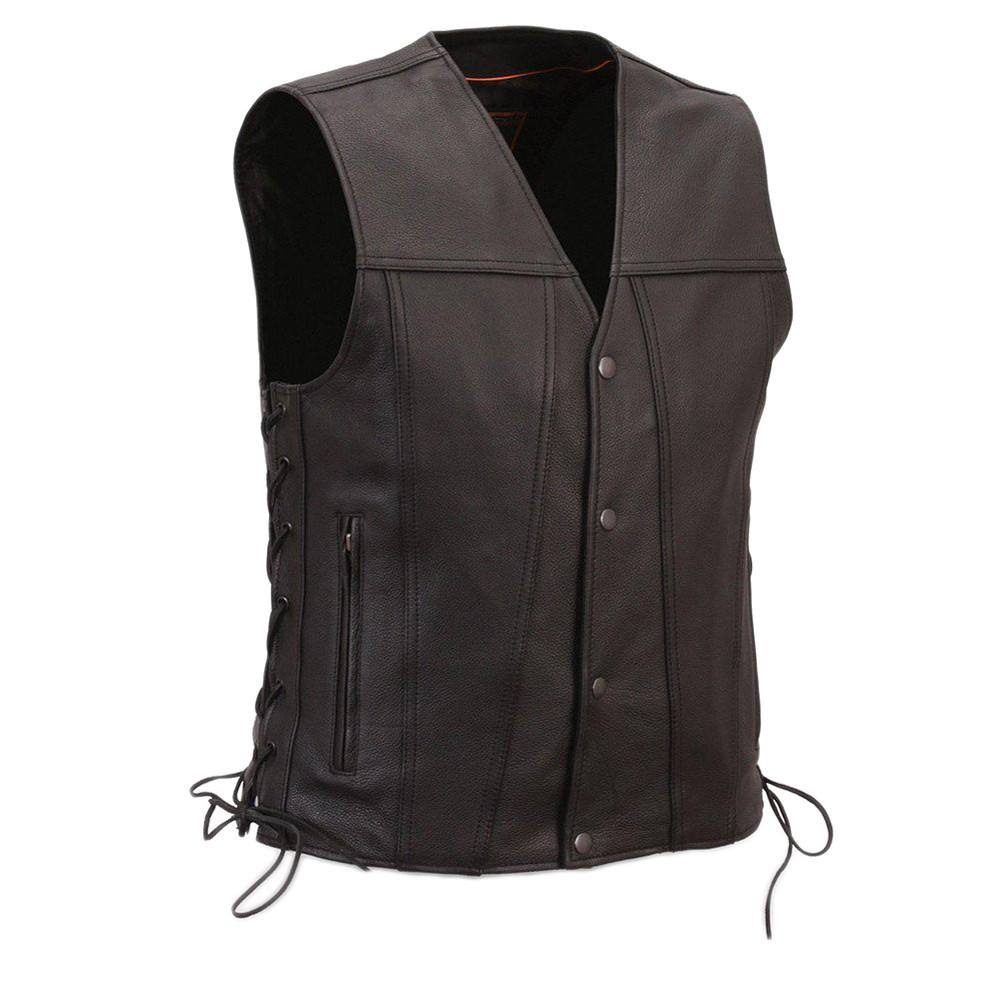 First Classics Men's Single Back Panel Leather Vest - Black, X Large