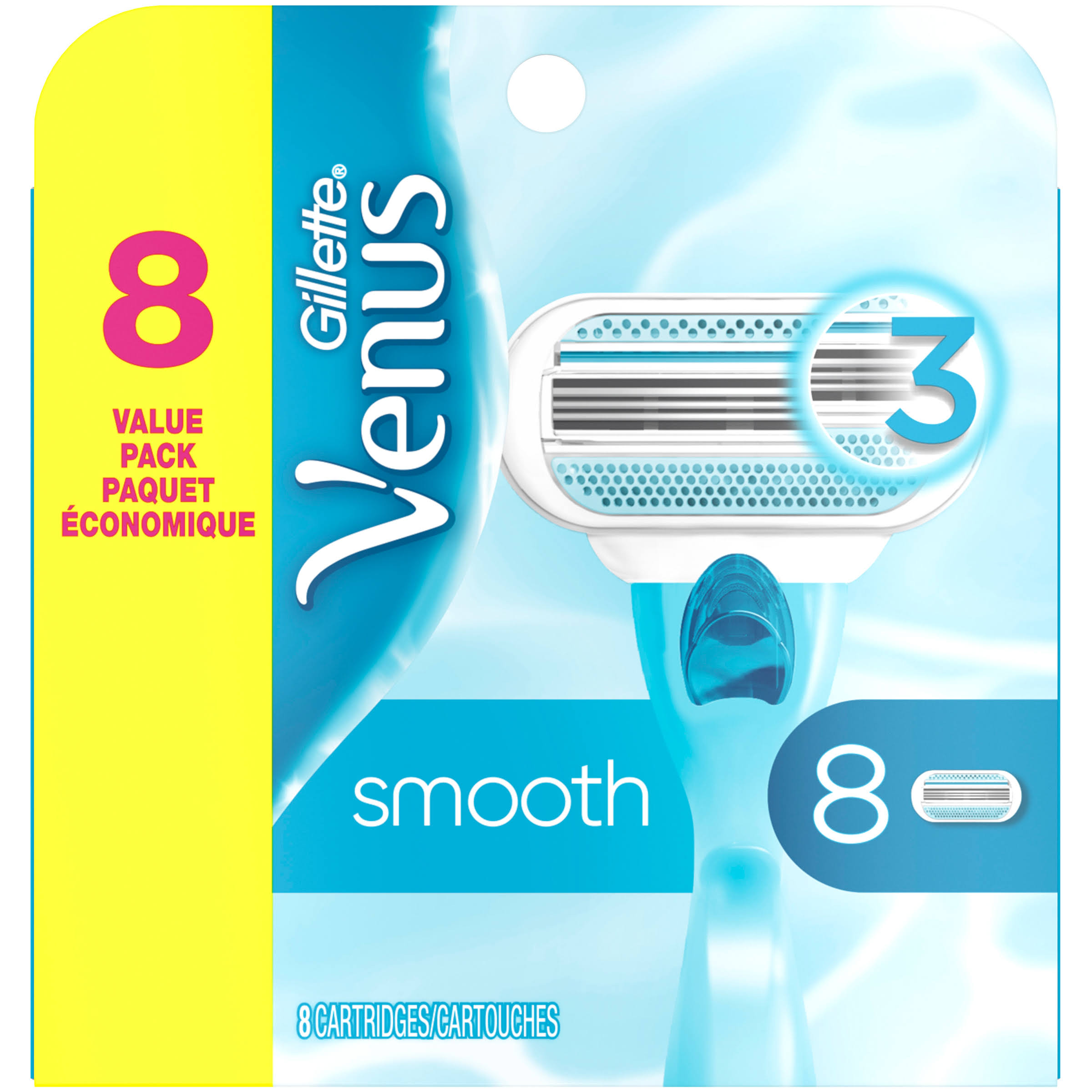 Gillette Venus 3 Blades Cartridges Value Pack - 8 Pack