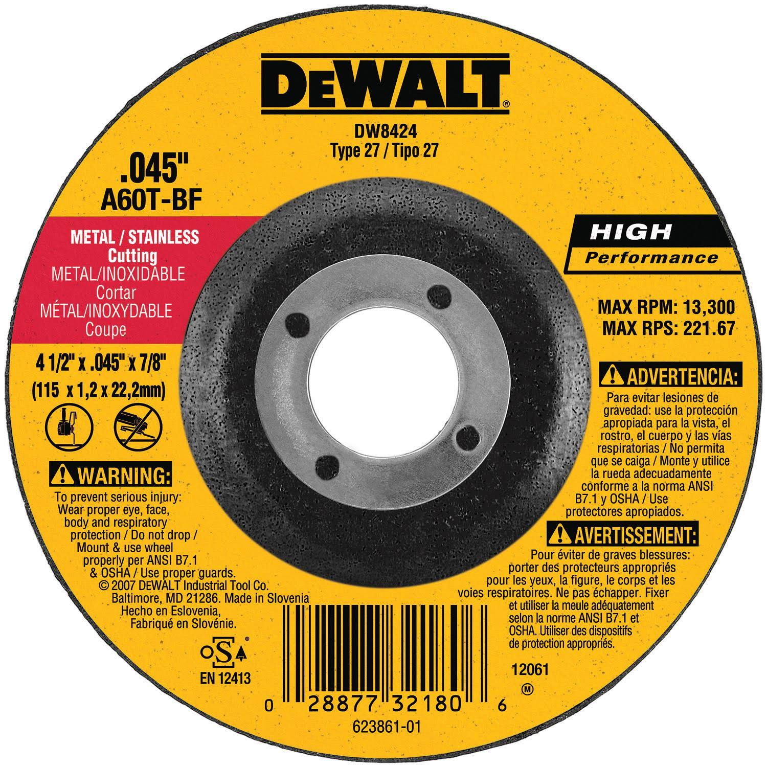 "Dewalt Pipeline Cutting Wheel - 4 1/2"" x 1/8"" x 7/8"""