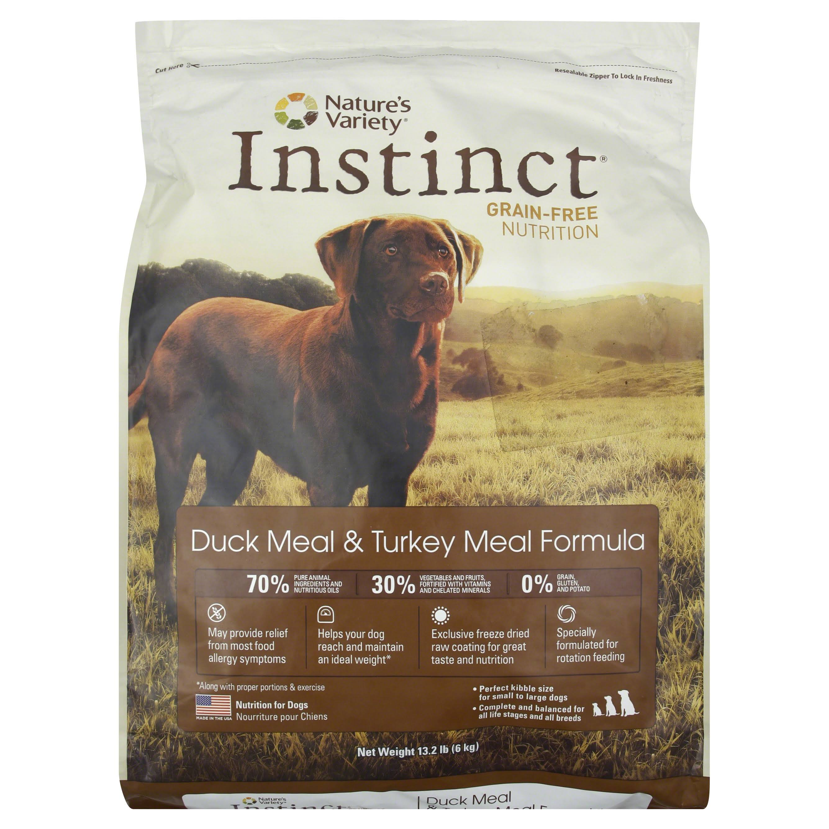 Nature's Variety Instinct Grain Free Duck and Turkey Meal Formula Dry Dog Food - 13.2lbs