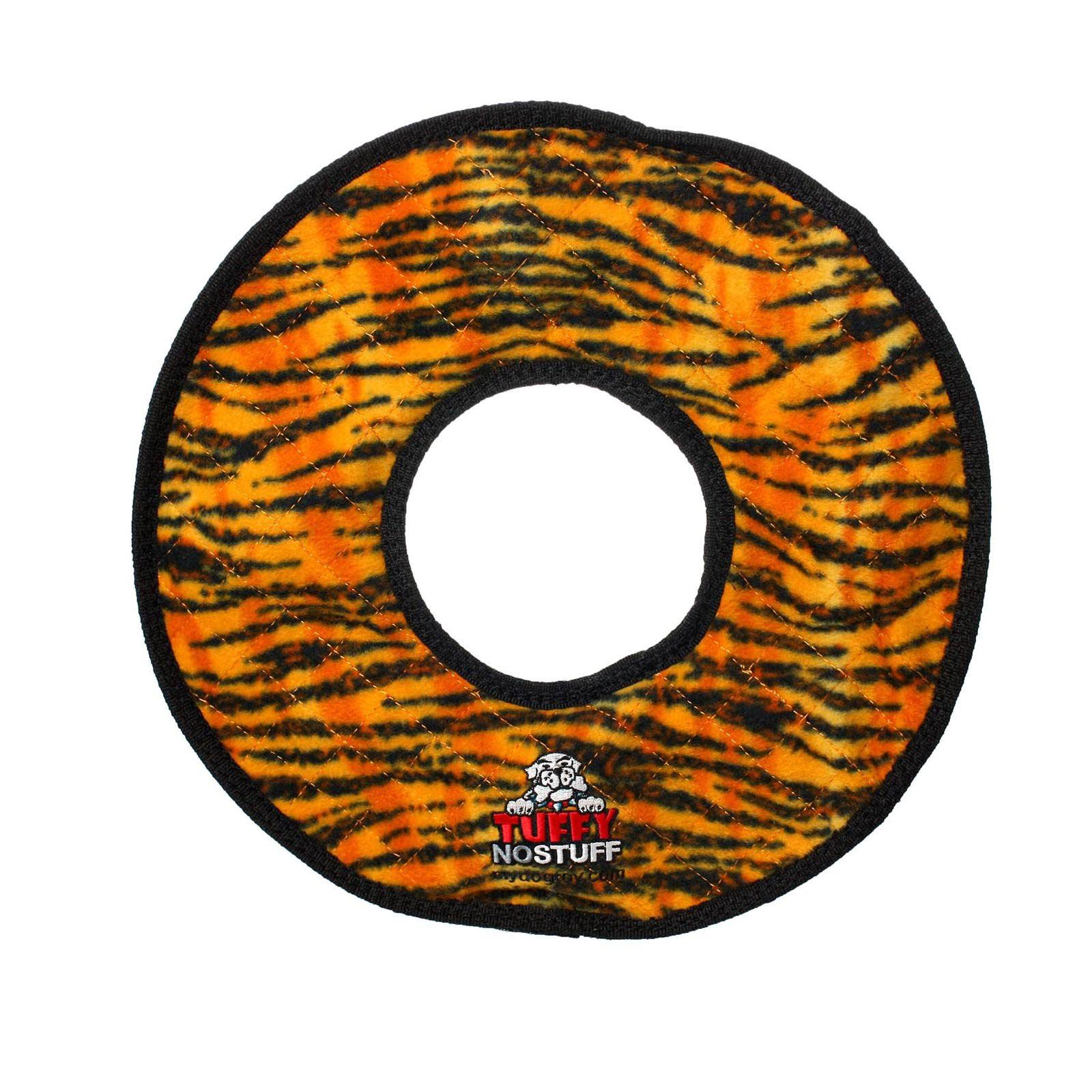 Tuffy Mega No Stuff Ring Dog Toy - Tiger