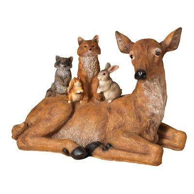 Deer with Woodland Friends Resin Figurine
