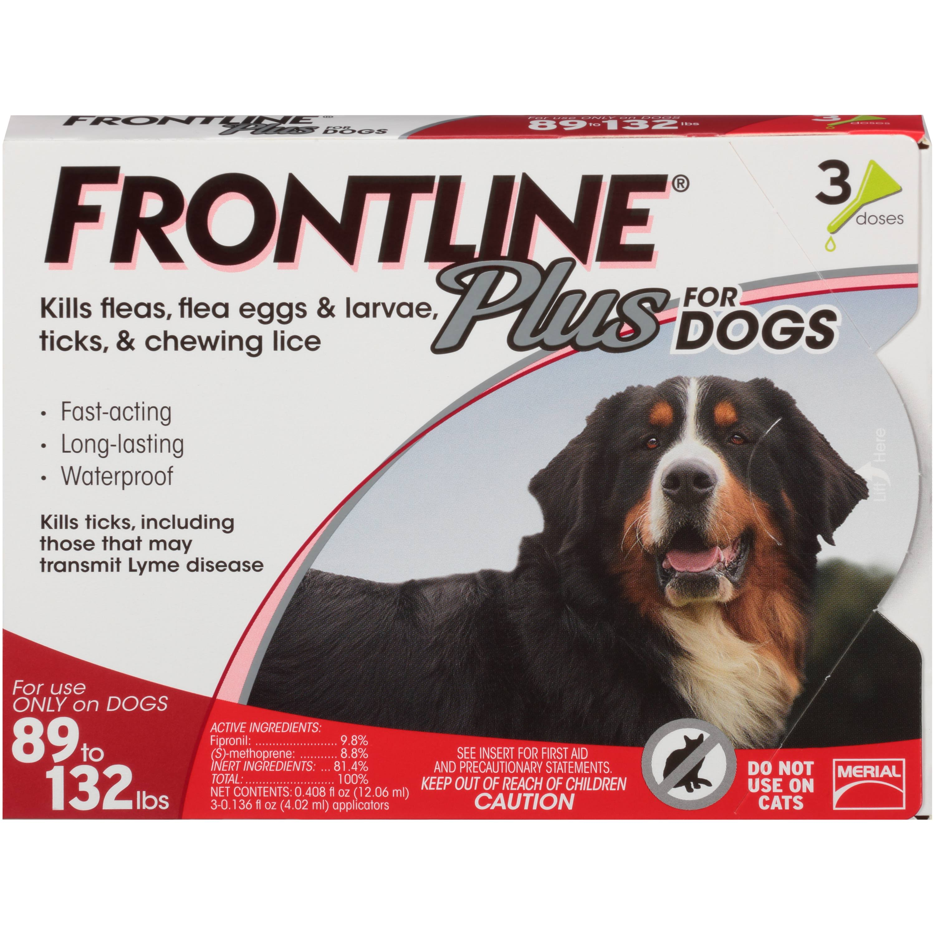 Merial Frontline Plus Flea and Tick Control for Dogs and Puppies - 89-132lb, 3pk
