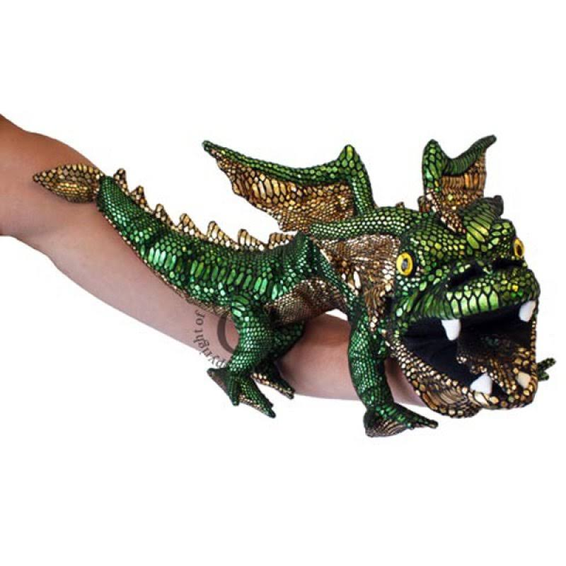 The Puppet Company Dragon Puppet - Green and Gold