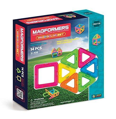 Magformers Magnet Set Magnetic Construction Brain Development - Neon, 14ct