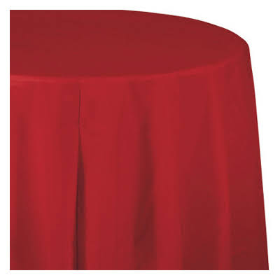 Creative Converting Classic Red Round Plastic Tablecover