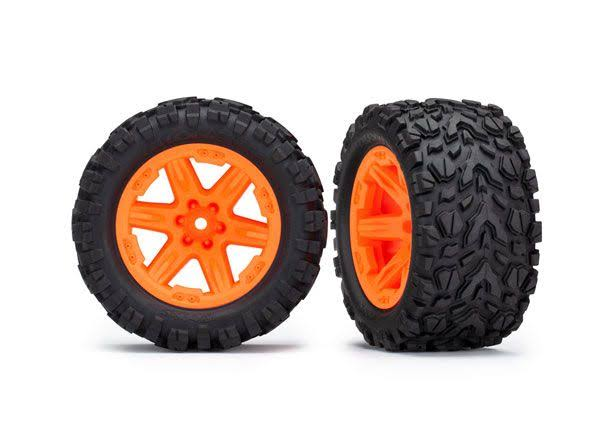 Traxxas 6773A - Talon Extreme Tires, RXT 2.8 inch Wheels, Orange, Rustler 4x4 (2)