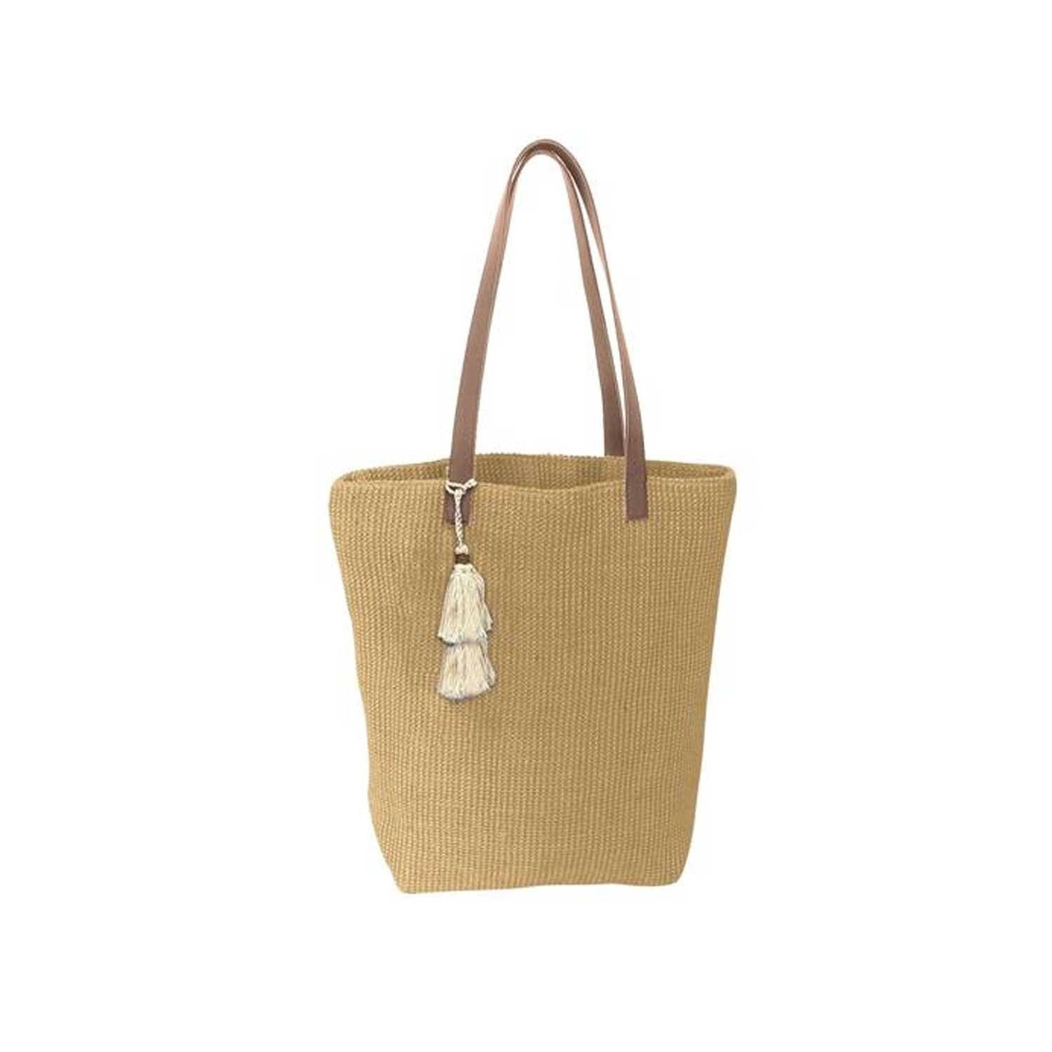 Karma Solid Jute Tote Bag - Tan