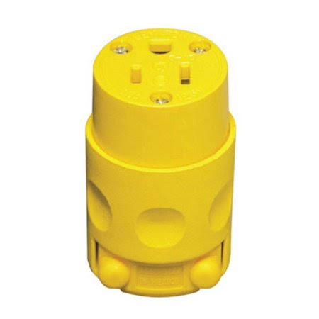 Leviton Pvc Grounding Cord Outlet - Yellow, 125V, 15A