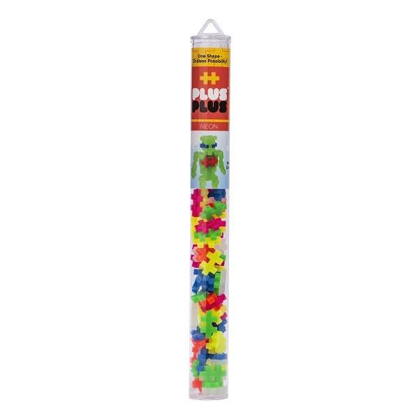 Plus-Plus Building Tube - Neon Mix, 70 Pieces