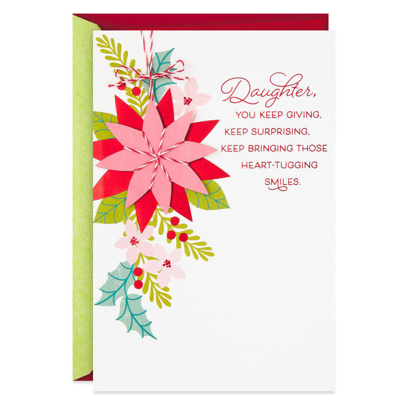 Proud of You Poinsettia Christmas Card for Daughter