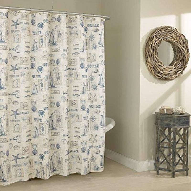 Lorraine Home Fashions by The Sea Shower Curtain 70 by 72-inch