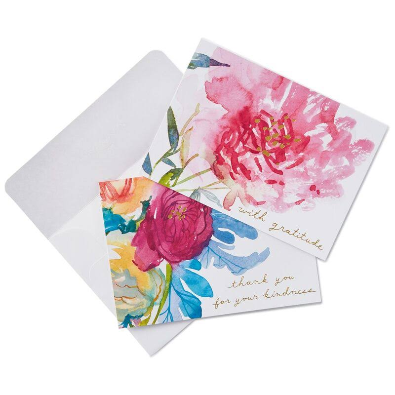 Watercolor Flowers Thank You Notes, Box of 40