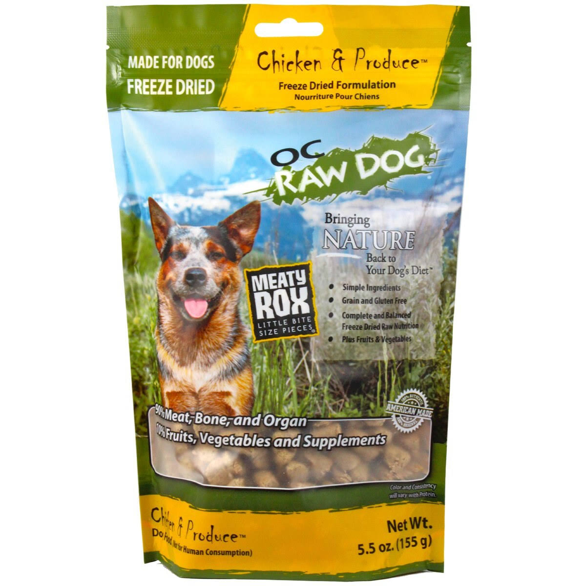 OC Raw Dog Freeze Dried Meaty Rox, Chicken, 5.5 oz