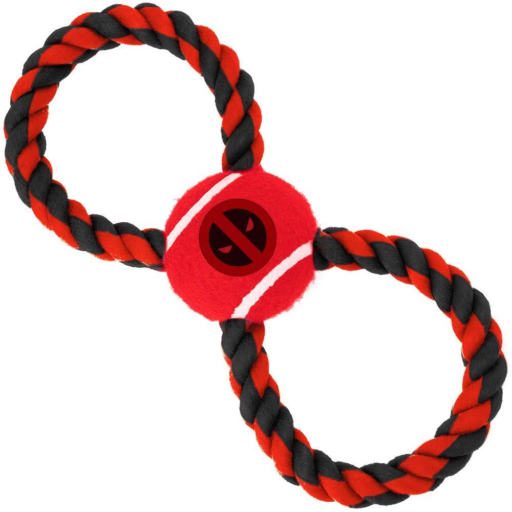 Buckle-Down Dog Toy Rope Tennis Ball - Deadpool Logo Red Black + Red Black Gray Rope