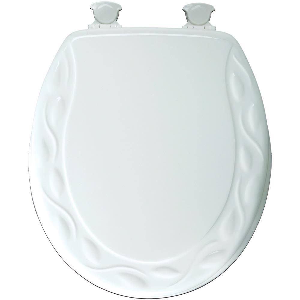 Mayfair Designer Sculptured Ivy Molded Wood Toilet Seat - White