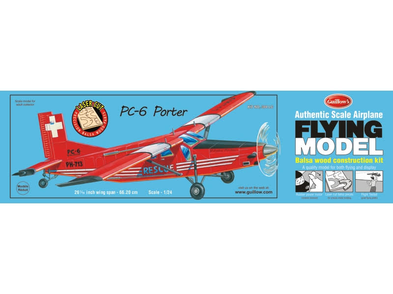 Guillow's PC-6 Porter Laser Cut Model Kit