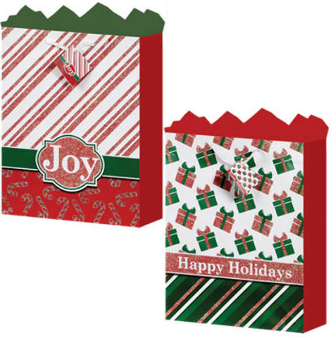 Case of [24] Medium Gift Bag - Holiday Tradition 2 Assorted