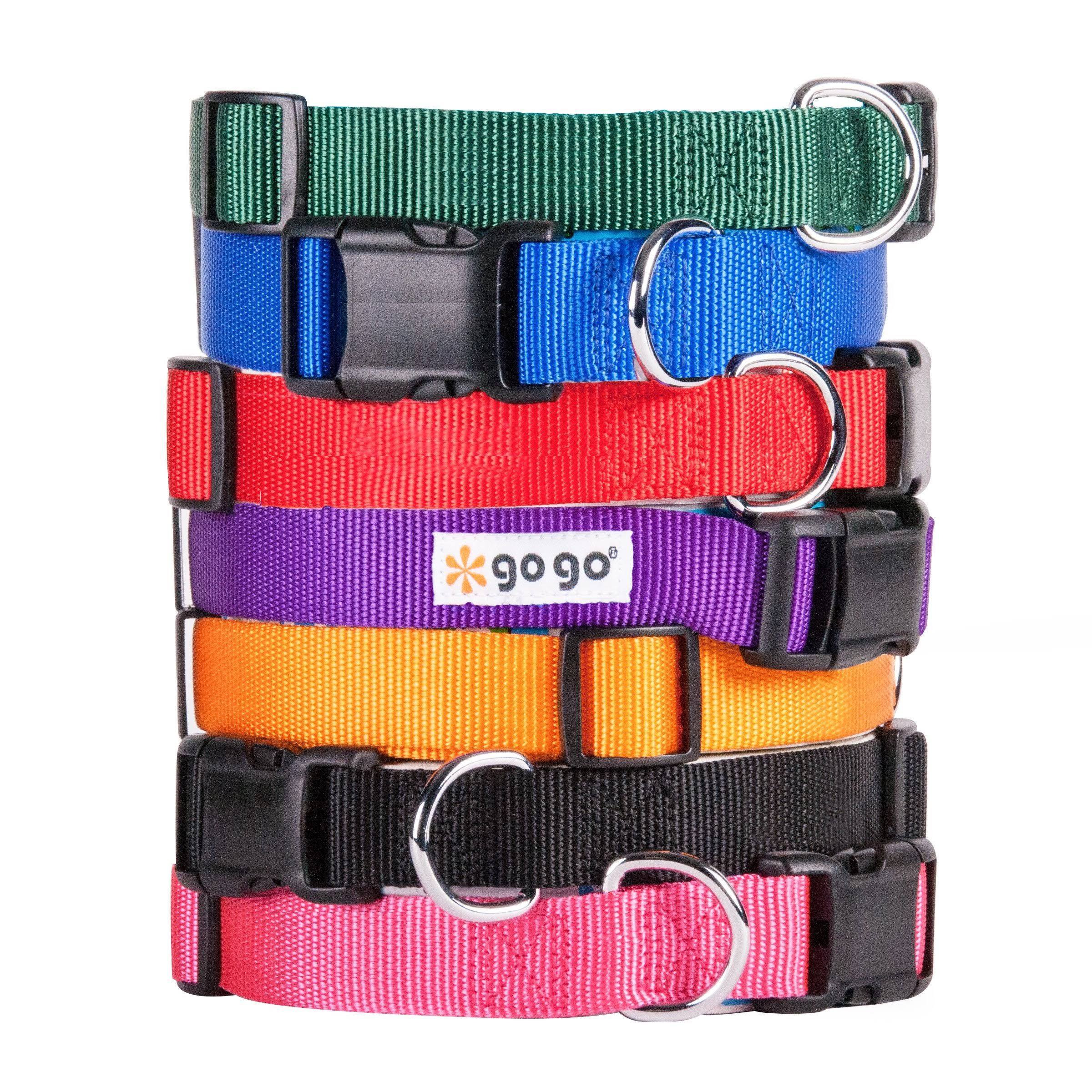 "GoGo Pet Products Comfy Nylon Adjustable Pet Collar - 5/8"", Small, Orange"
