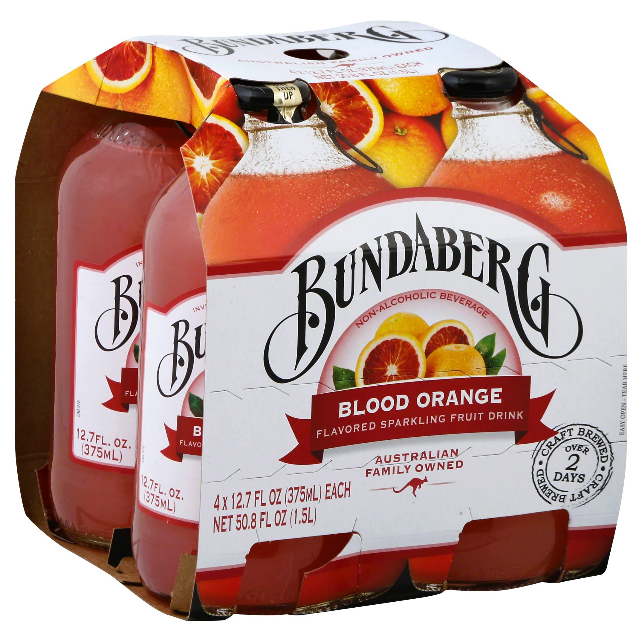 Bundaberg Sparkling Fruit Drink, Blood Orange Flavored - 4 pack, 12.7 fl oz each