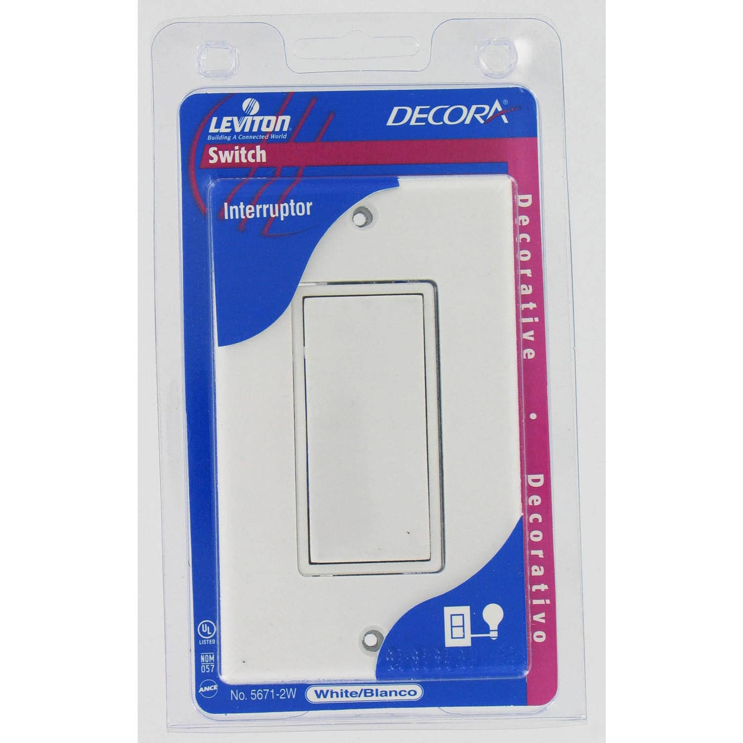 Leviton Single Pole Rocker Switch & Wall Plate - White, 15amp