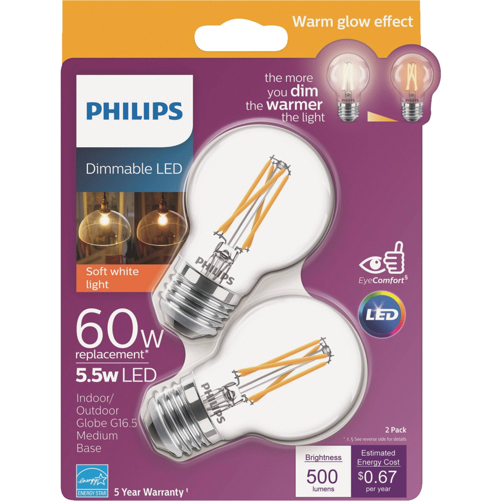 Philips Warm Glow G16.5 Medium Dimmable LED Decorative Light Bulb