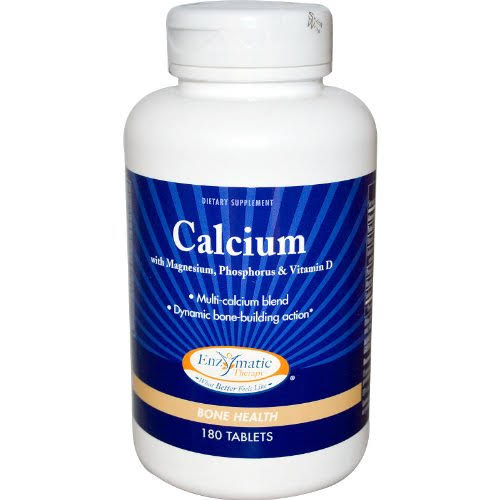 Enzymatic Therapy Calcium With Magnesium Phosphorus and Vitamin D Supplement - 180tabs