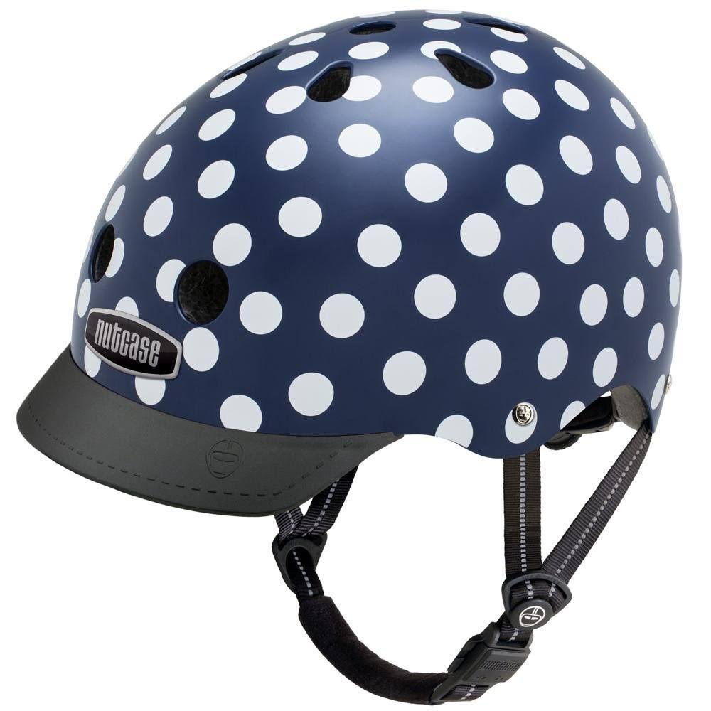 Nutcase Patterned Street Bike Helmet - Navy Dots, Large