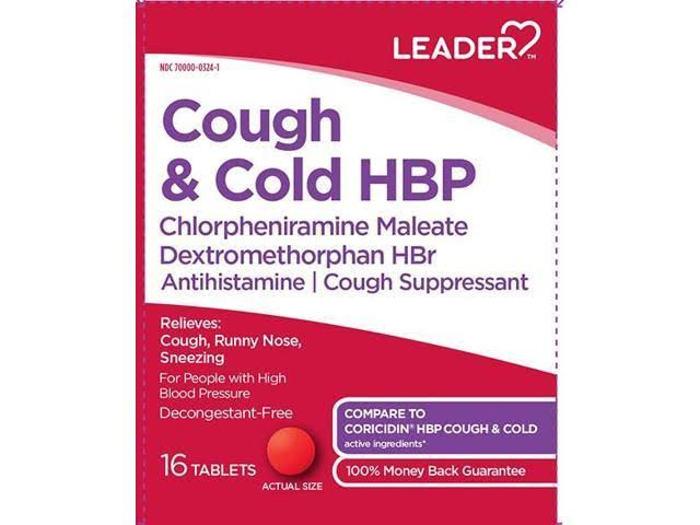 Leader Cough & Cold HBP Tablets 16ct