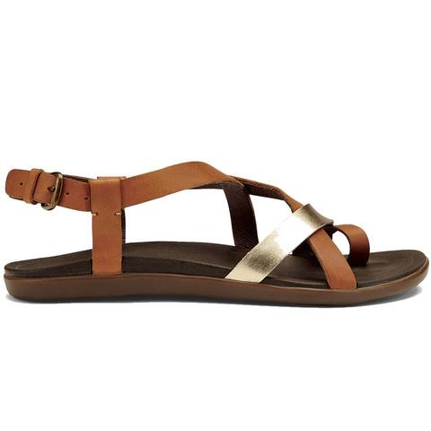 Olukai Upena Women's Sandals - Brown/Silver, 7 US