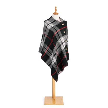 Demdaco Reversible Button Black and Red Plaid One Size Acrylic Fabric Shawl Poncho