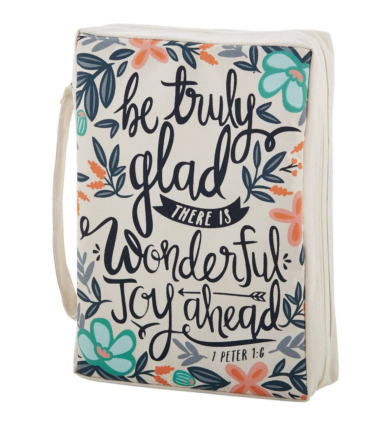 Faithworks Canvas Bible Book Cover, Be Truly Glad