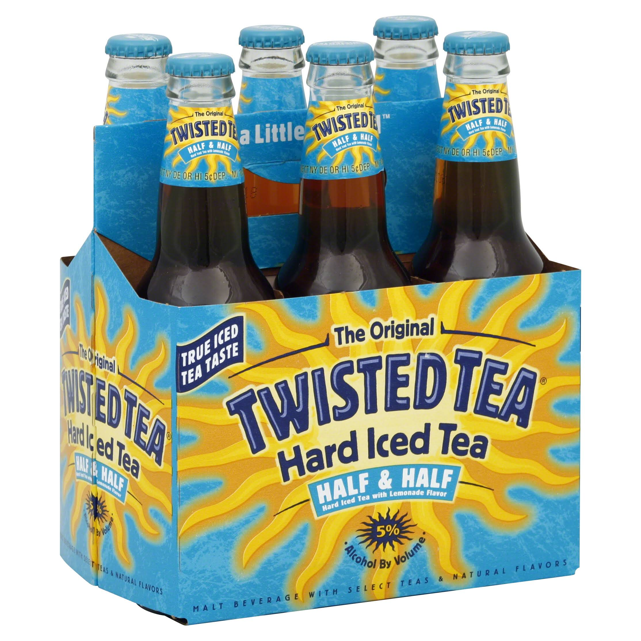 Twisted Tea Hard Iced Tea, with Lemonade Flavor, Half & Half - 6 - twelve fl oz bottles