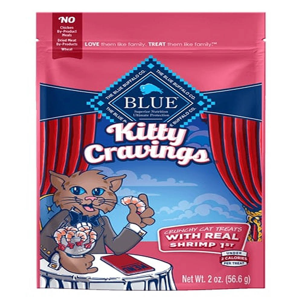 Blue Kitty Cravings Cat Treats, with Real Shrimp 1st, Crunchy - 2 oz