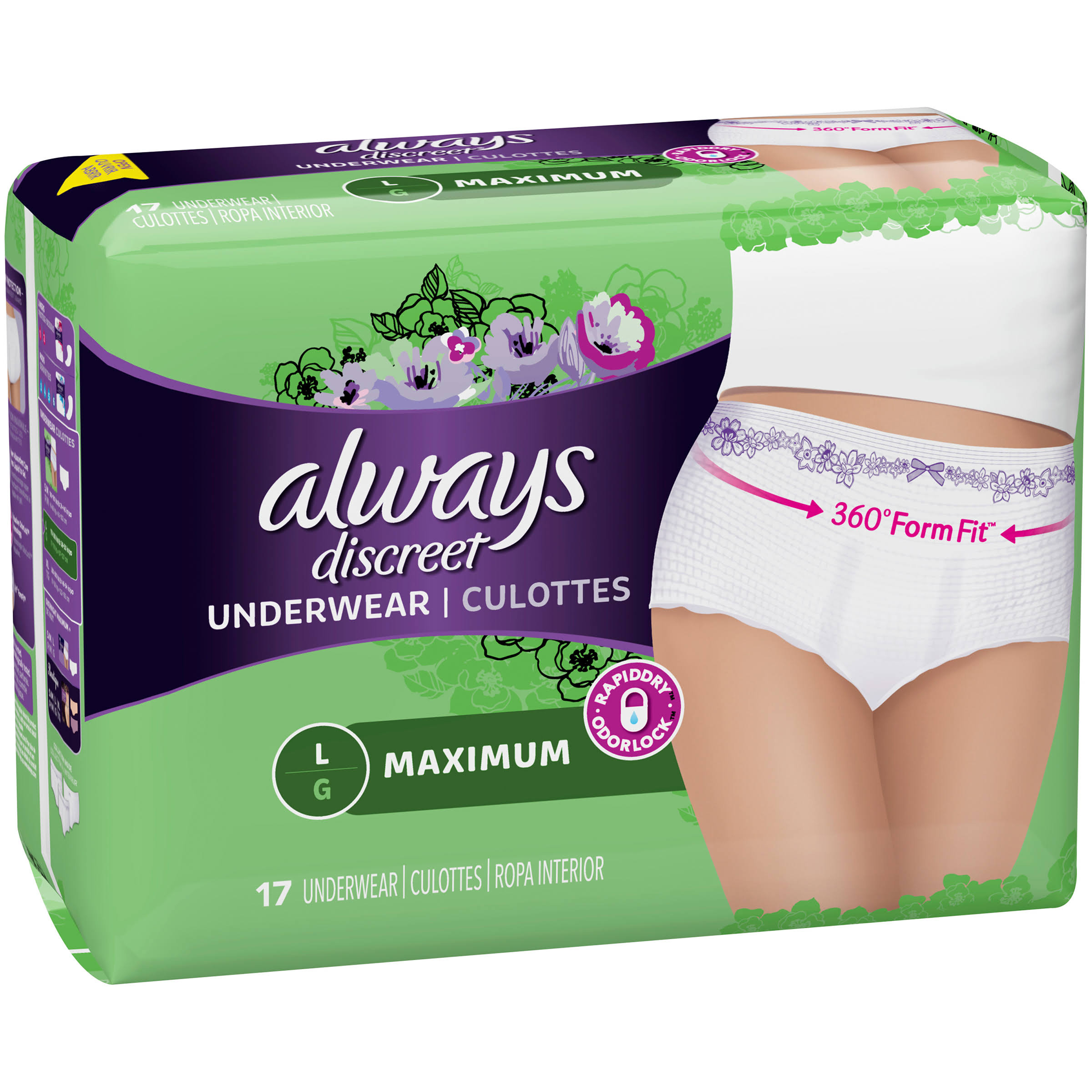 Always Discreet Maximum Classic Cut Underwear - Large, 170-260lbs, 17ct