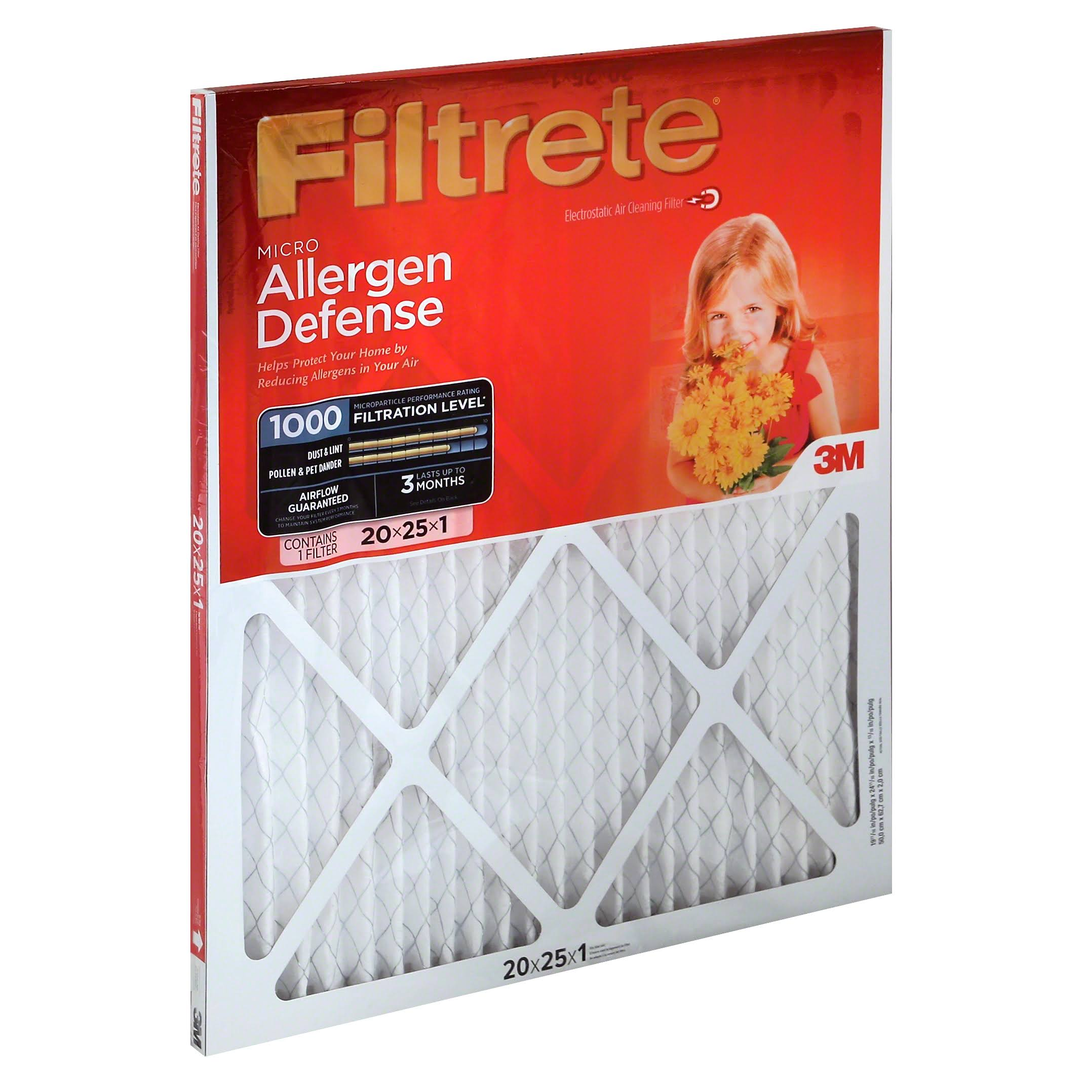 "3M Filtrete Micro Allergen Defense Filter - 20"" x 25"", 6 Pack"