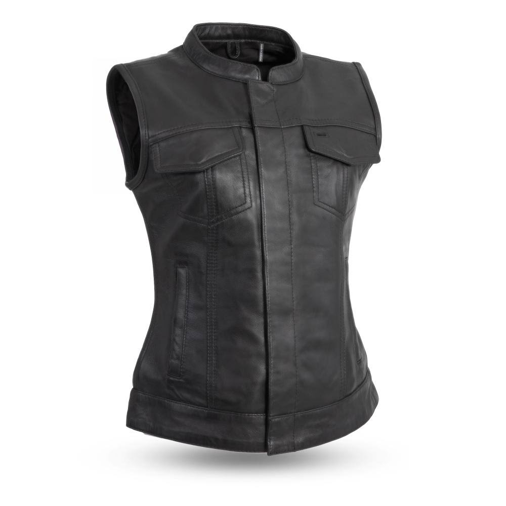 First Manufacturing FIL516SDC-XL-BLK Ludlow Women's Leather Vest (X-Large, Black)